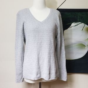 Karen Scott Cable Knit V Neck Sweater